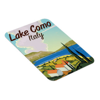 Lake Como Italy travel poster Magnet