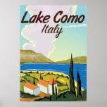 Lake Como Italy travel poster. Poster