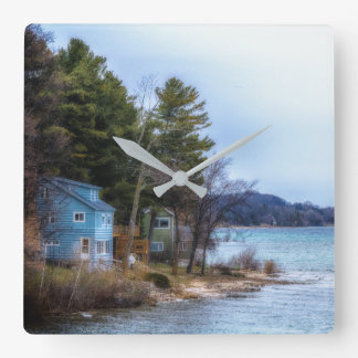 Lake Cottage Time Square Wall Clock
