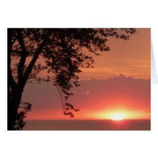 Lake Erie Brilliant Orange Sunset Card
