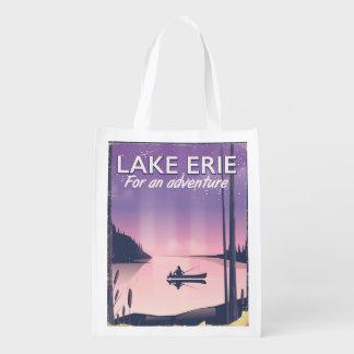 Lake Erie travel poster Reusable Grocery Bag