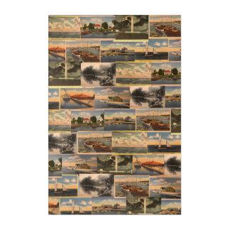 Lake Erie Vintage Postcard Collage Wall Art