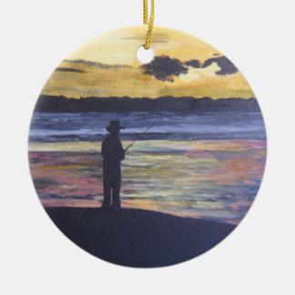 Lake fishing ceramic ornament