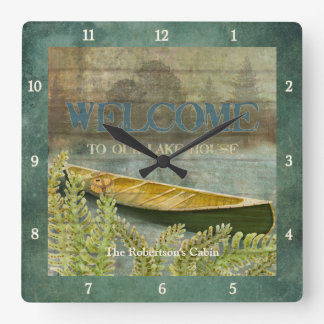 Lake Fishing, Fisherman Trees Canoe Ferns Cabin Square Wall Clock