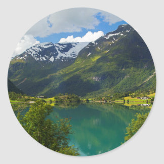 Lake Floen scenic, Norway Classic Round Sticker