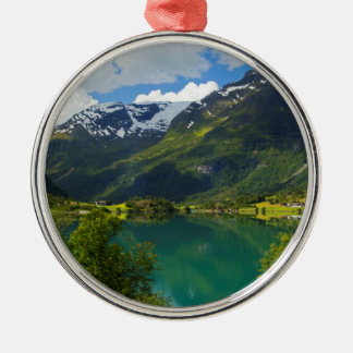 Lake Floen scenic, Norway Silver-Colored Round Ornament