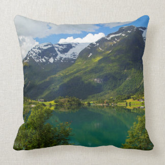 Lake Floen scenic, Norway Throw Pillow