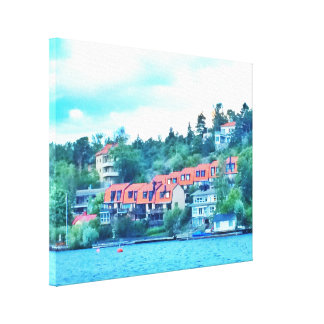 Lake front houses, Sweden Canvas Print