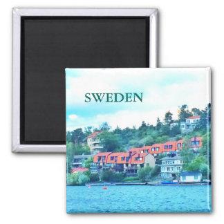 Lake front houses, Sweden Magnet