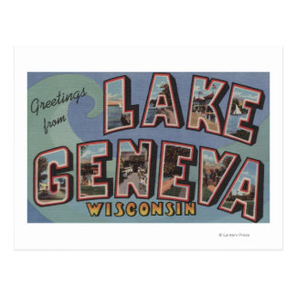 Lake Geneva, Wisconsin - Large Letter Scenes Postcard