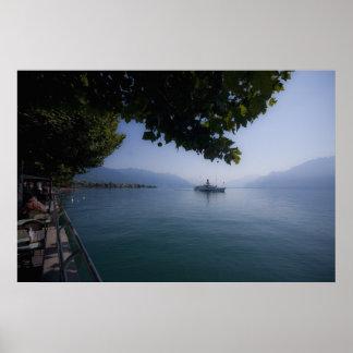 Lake Geneva with Paddle Steamer Poster