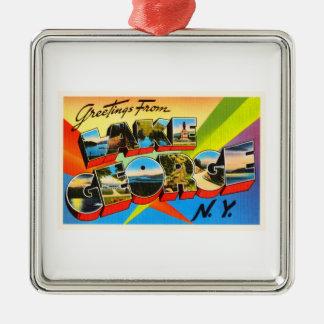 Lake George New York NY Vintage Travel Souvenir Silver-Colored Square Ornament