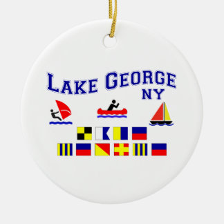 Lake George NY Signal Flags Ceramic Ornament