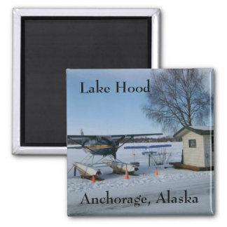 Lake Hood, Anchorage, Alaska Square Magnet