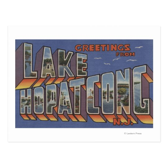 Lake Hopatcong, New Jersey - Large Letter Scenes Postcard