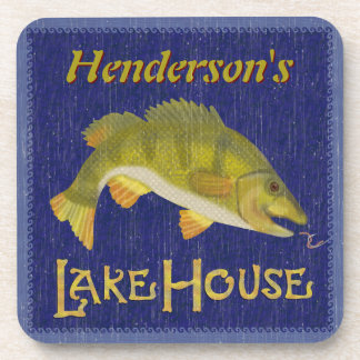 Lake House Bass Fish Rustic Nautical | Add Name Coaster