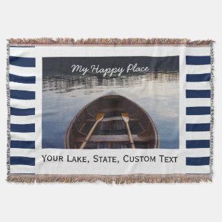 Lake House Custom Photo My Happy Place Striped Throw Blanket