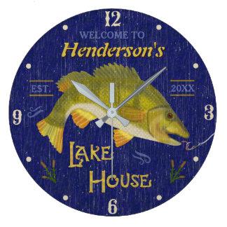 Lake House Rustic Nautical Bass Fish | Custom Name Large Clock