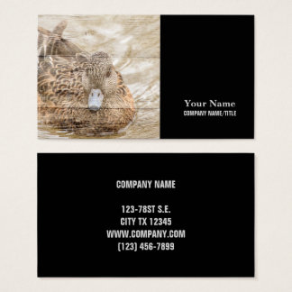 Lake House woodgrain pond wild duck Business Card