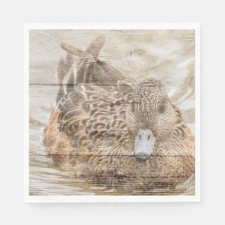 Lake House woodgrain pond wild duck Disposable Napkins