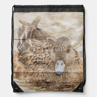 Lake House woodgrain pond wild duck Drawstring Bag