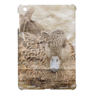 Lake House woodgrain pond wild duck iPad Mini Cover