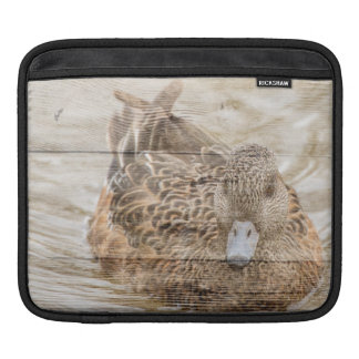 Lake House woodgrain pond wild duck iPad Sleeve