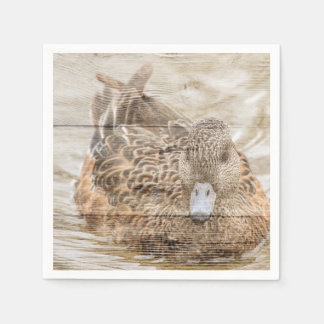 Lake House woodgrain pond wild duck Paper Napkin