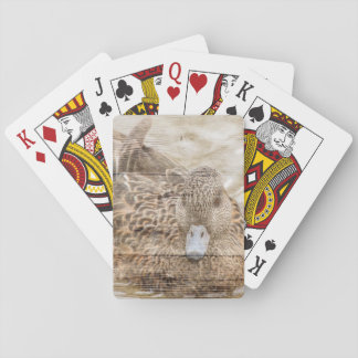Lake House woodgrain pond wild duck Playing Cards