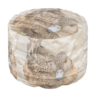 Lake House woodgrain pond wild duck Pouf