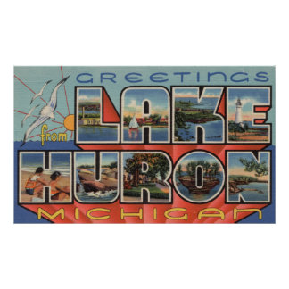 Lake Huron, Michigan - Large Letter Scenes Poster