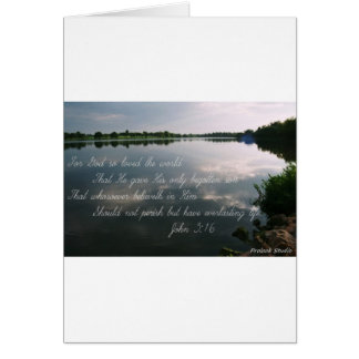 Lake image with John 3:16 scripture Card