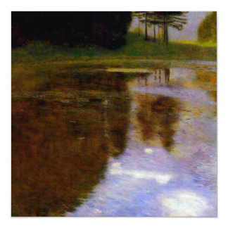 """Lake in front of the Castle art by Gustav Klimt 5.25"""" Square Invitation Card"""