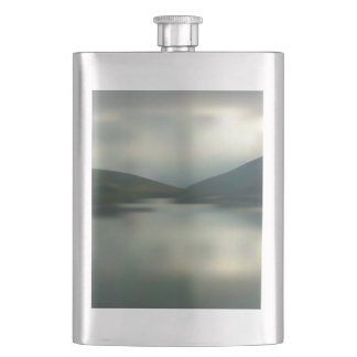 Lake in the mountains hip flask