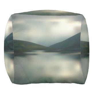 Lake in the mountains pouf