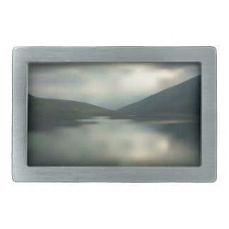 Lake in the mountains rectangular belt buckle