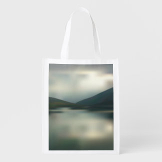 Lake in the mountains reusable grocery bag