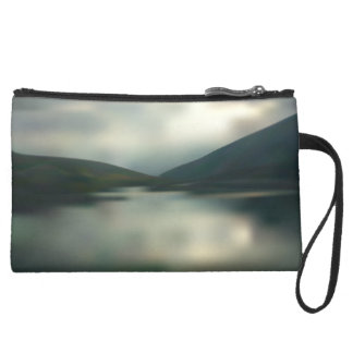Lake in the mountains suede wristlet