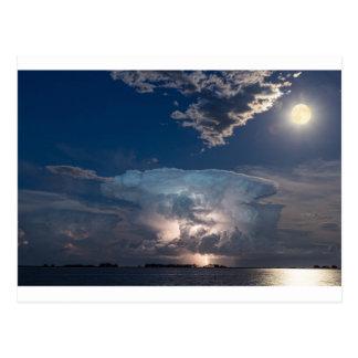 Lake Lightning Thunderstorm Cell and Full Moon Postcard