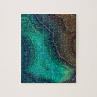Lake Like Teal & Brown Agate Jigsaw Puzzle