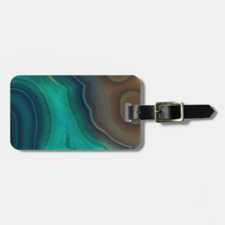 Lake Like Teal & Brown Agate Luggage Tag
