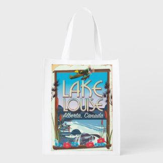 Lake Louise, Alberta Canada travel poster Reusable Grocery Bags