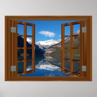 Lake Louise Mountain Lake Faux Window reflection Poster