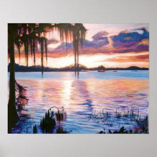 Lake Maitland at sunset poster art