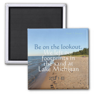 Lake Michigan Beach Dated Travel Fridge Magnet