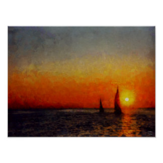 Lake Michigan Boats, Fiery Orange Sunset Poster