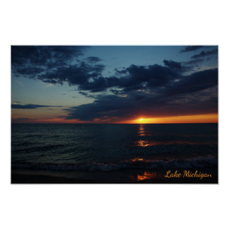 Lake Michigan Fiery Orange Sunset in July Poster