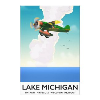 Lake Michigan flight travel poster Canvas Print