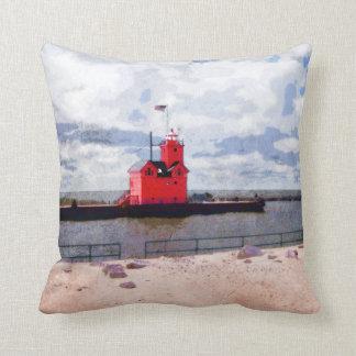 Lake Michigan Lighthouse Throw Pillow