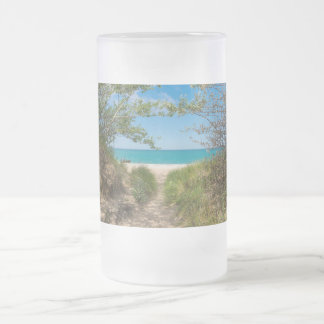 Lake Michigan Tranquility Frosted Glass Beer Mug